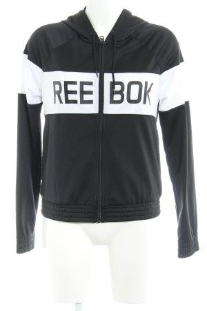 Reebok Sportjacke schwarz-weiß Schriftzug gedruckt sportlicher Stil