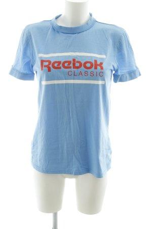 Reebok T-Shirt neonblau-rot Schriftzug gedruckt Casual-Look