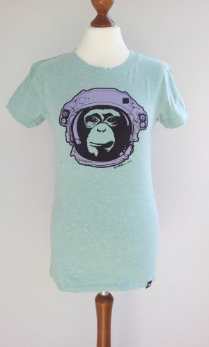 Reell Shirt in M (38/40), Mintgrün/Helltürkis mit Druck Affe/Schimpanse/Astronaut