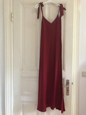 Reformation Seidenkleid festliches Kleid Bordeaux Weinrot Abendkleid mit Rückenausschnitt xs