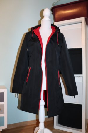 Regen Parka Mantel soft shell Jacke rot schwarz mit Kapuze