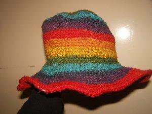 Chapeau de soleil jaune-rouge chanvre