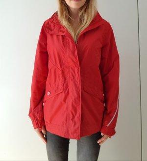 Regenjacke rot 38 abnehmbare Kapuze Taschen