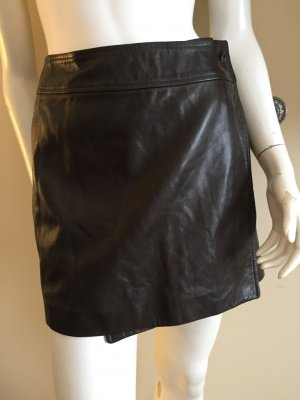 Leather Skirt dark green-brown red leather