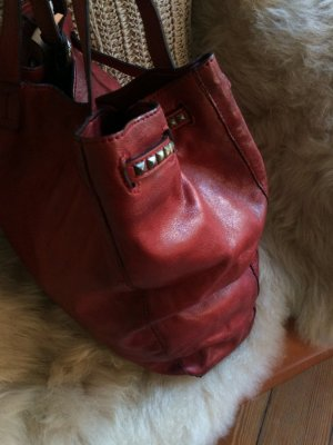 Pouch Bag dark red leather