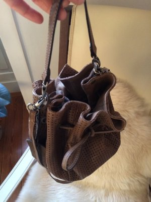 Pouch Bag grey brown leather
