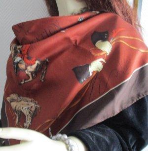 Reine Seide PAPILLON XXL Tuch Schal Halstuch MANEGE la Courbette Erdtöne braun rost rot beige creme Pferde Reiter Dressur TOP