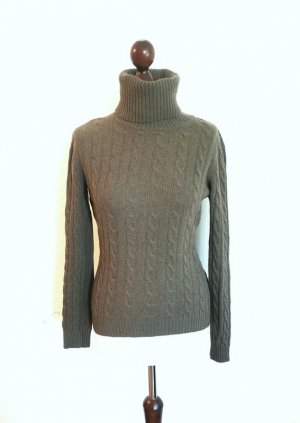 United Colors of Benetton Cable Sweater green grey wool