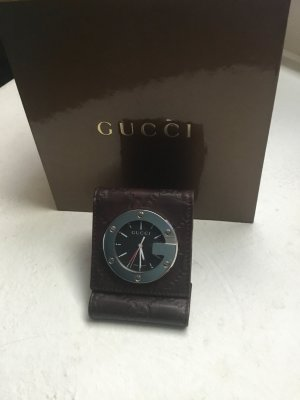 Gucci Watch dark brown-light grey leather