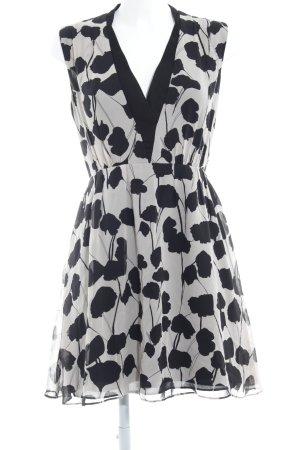 Reiss A-Linien Kleid creme-schwarz Blumenmuster Elegant