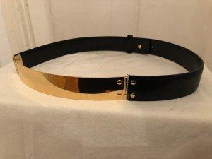 REISS Honor Taillengürtel, schwarzes Echt-Leder, goldene Metallplatte, neuwertig