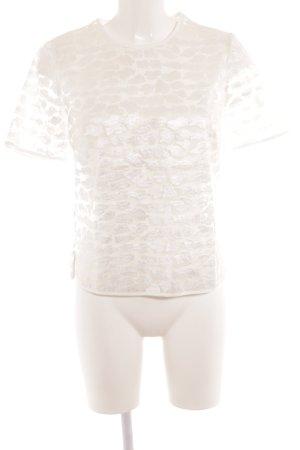 Reiss Kurzarm-Bluse weiß abstraktes Muster Elegant