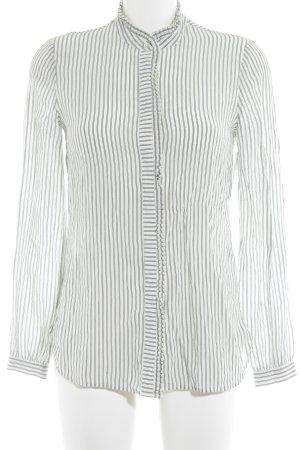 Reiss Langarm-Bluse weiß-dunkelblau Streifenmuster klassischer Stil