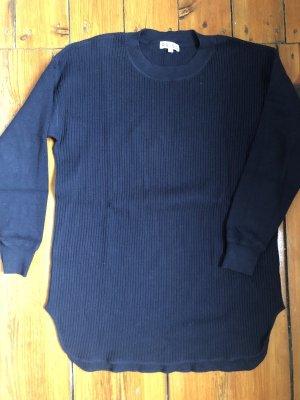 Reiss Ripp-Sweater S Rundhals Rippstrick in Dunkelblau aus Baumwolle und Seide