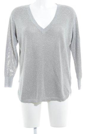 Reiss V-Ausschnitt-Pullover silberfarben Glitzer-Optik