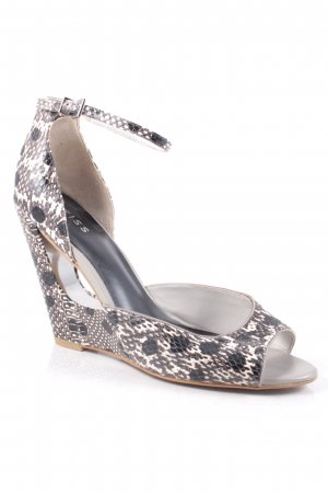 Reiss Wedge Sandals black-white reptile print