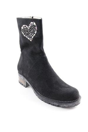 Botas con cremallera negro-gris brillante