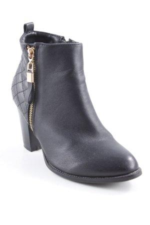 Reißverschluss-Stiefeletten schwarz Steppmuster schlichter Stil
