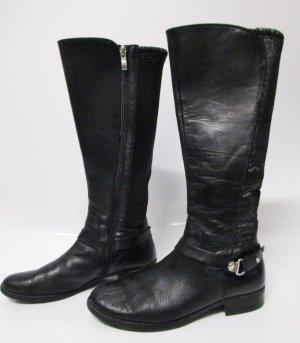 Reiterstiefel Stiefel Caprice Größe 39 Schwarz Echt Leder Weitschaft Elastisch Schnalle western Boots Flach
