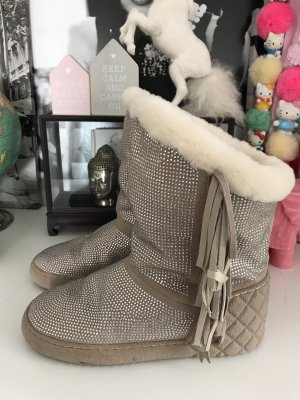 Rejois by Gianni Renzi Glitter Boots beige Strass Kunstfell 40 Fransen warm