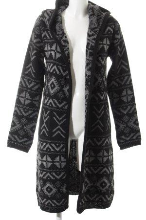 Reken Maar Cardigan schwarz-grau Aztekenmuster Casual-Look