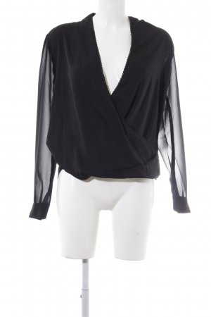 Reken Maar Langarm-Bluse schwarz schlichter Stil