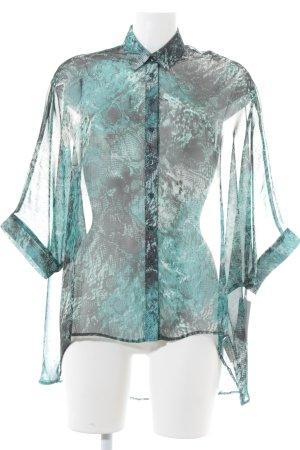 Reken Maar Transparenz-Bluse dunkelgrün-hellgrau Reptil-Optik