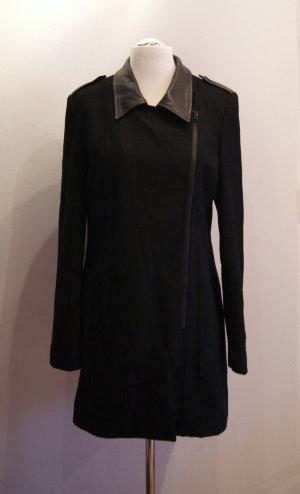REKEN MAAR Wolle/Leder, kurzer Mantel, lange Jacke, Gr. 42, schwarz NEU