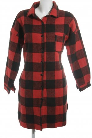 Relaxfeel Blouse Jacket black-brick red check pattern casual look