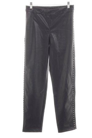 Religion Pantalón de cuero negro estilo extravagante