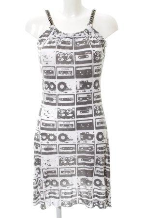 Religion Minikleid schwarz-weiß Allover-Druck Casual-Look