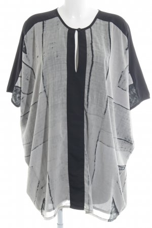 Religion Oversized Bluse schwarz-hellgrau abstraktes Muster Casual-Look