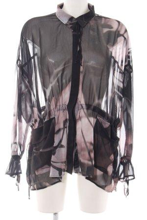 Religion Transparenz-Bluse schwarz-pink abstraktes Muster Casual-Look