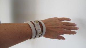 """Rena Lange"" Armband Leder wollweiß-cremefarben gold"