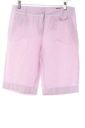Rena Lange Bermuda weiß-rosa Streifenmuster Casual-Look