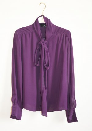 Rena Lange Tie-neck Blouse dark violet silk