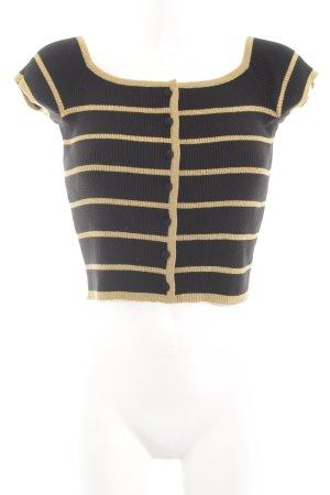 Rena Lange Camicia cropped nero-giallo pallido motivo a righe stile casual