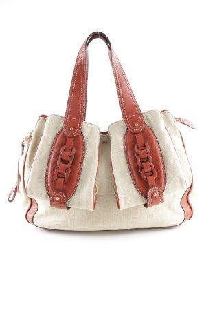 Rena Lange Handtasche hellbeige-dunkelorange Webmuster Business-Look