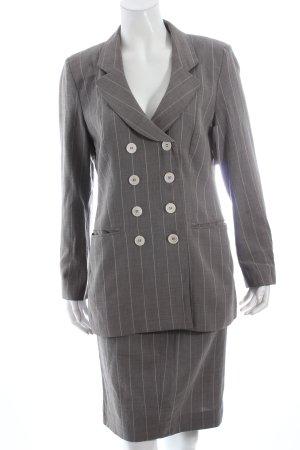 Rena Lange Kostüm grau-wollweiß Streifenmuster Business-Look