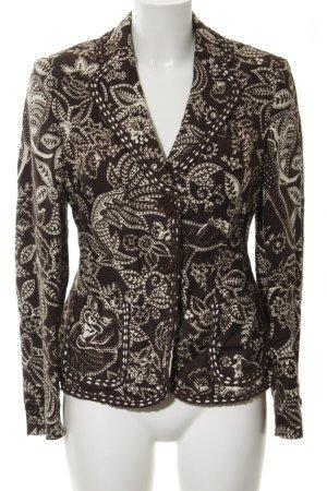 Rena Lange Kurz-Blazer schwarz-creme Blumenmuster extravaganter Stil