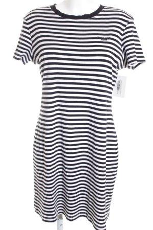 Rena Lange Kurzarmkleid weiß-schwarz Streifenmuster Marine-Look
