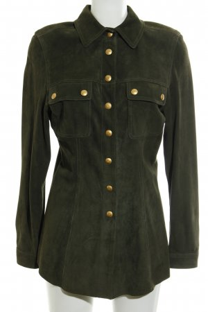 Rena Lange Leather Shirt olive green-gold-colored casual look