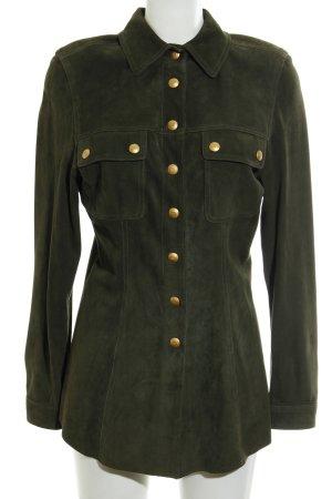 Rena Lange Lederhemd olivgrün-goldfarben Casual-Look