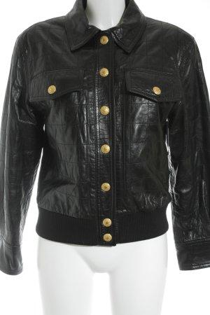 Rena Lange Lederjacke schwarz-goldfarben extravaganter Stil