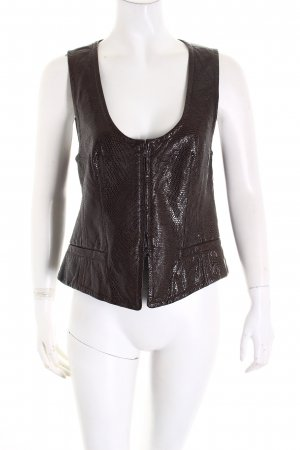 Rena Lange Leather Vest dark brown leather-look