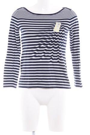 Rena Lange Maglietta a righe bianco-blu scuro Stampa a tema stile casual