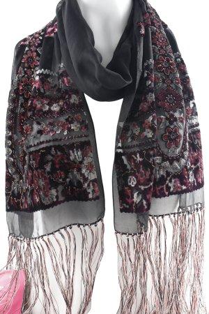 renard Fransenschal schwarz florales Muster Casual-Look