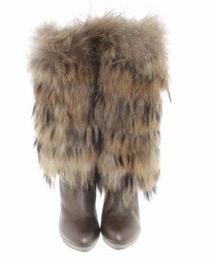 René Caovilla Fur Boots bronze-colored-grey brown