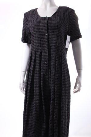 René Lezard A-Linien Kleid dunkelblau-weiß Karomuster Street-Fashion-Look