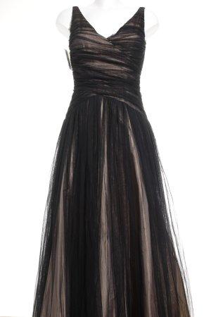 René Lezard Abendkleid schwarz-nude Elegant